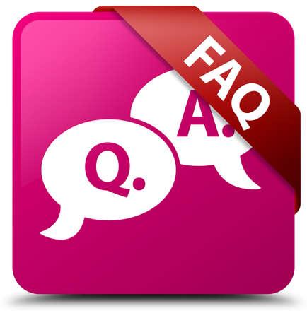 Faq (question answer bubble icon) pink square button