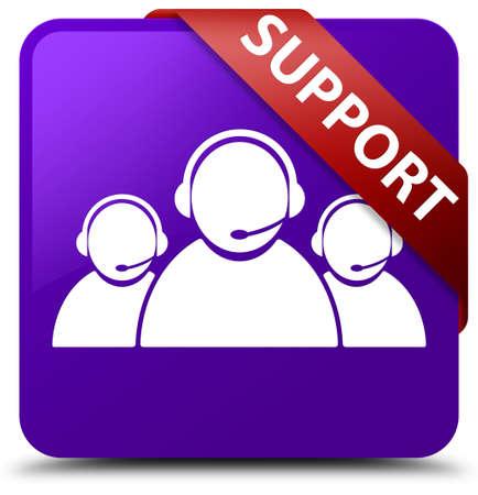 Support (customer care team icon) purple square button