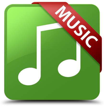 Music (tune icon) soft green square button Stock Photo