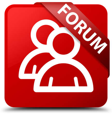 Forum (group icon) red square button Stock Photo