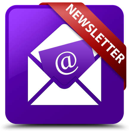 article marketing: Newsletter purple square button Stock Photo