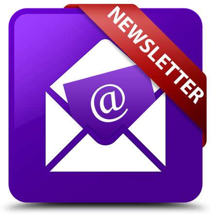 square button: Newsletter purple square button Stock Photo