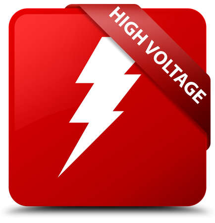 high voltage: High voltage (electricity icon) red square button