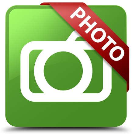 Photo (camera icon) soft green square button Stock Photo