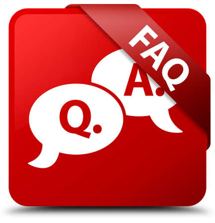 Faq (question answer bubble icon) red square button
