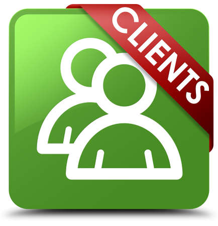 job satisfaction: Clients (group icon) soft green square button