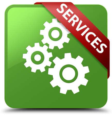 Services (gears icon) soft green square button