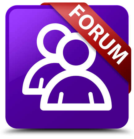 Forum (group icon) purple square button Stock Photo