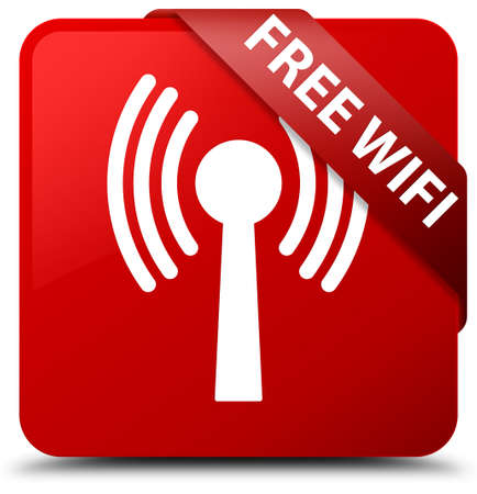Free wireless internet(wlan network) red square button Stock Photo