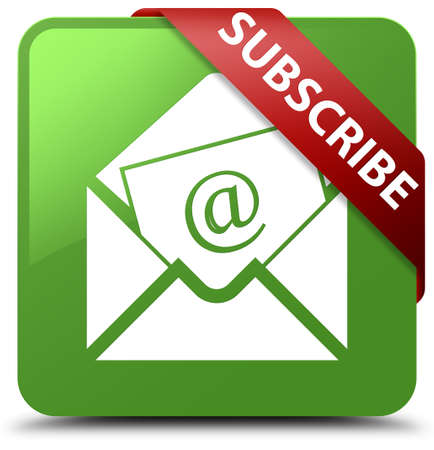 Subscribe (newsletter email icon) soft green square button Stock Photo