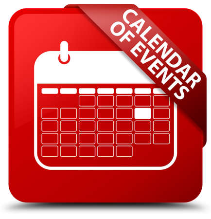 event planner: Calendar of events red square button