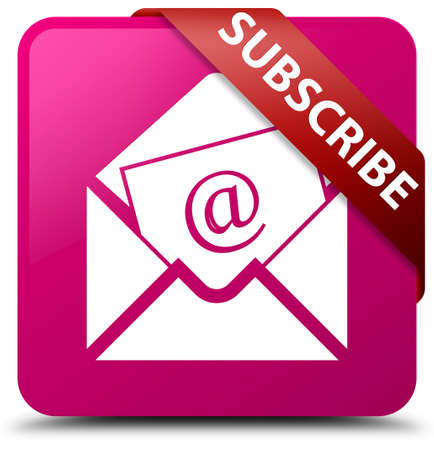 Subscribe (newsletter email icon) pink square button Stock Photo
