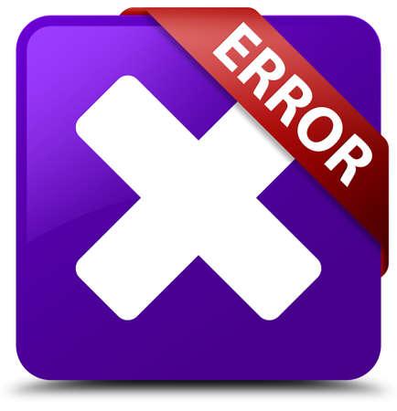 Error (cancel icon) purple square button Stock Photo