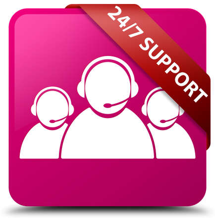 247 Support (customer care team icon) pink square button