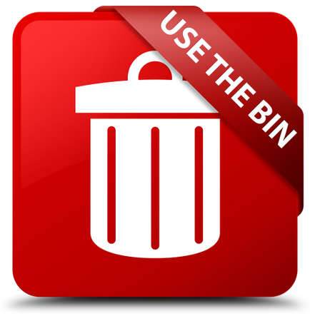 Use the bin (trash icon) red square button Stock Photo