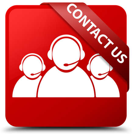 Contact us (customer care team icon) red square button Stock Photo