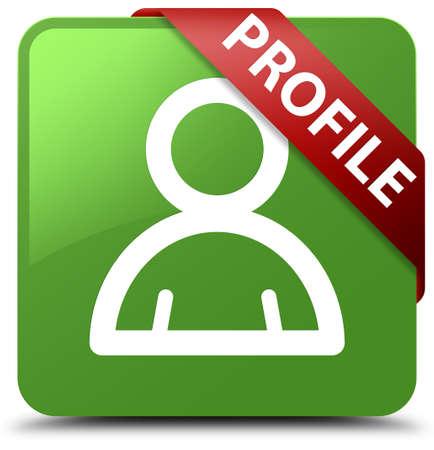 man profile: Profile (member icon) soft green square button