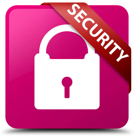 safeguards: Security (padlock icon) pink square button Stock Photo