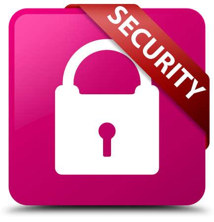 key hole shape: Security (padlock icon) pink square button Stock Photo