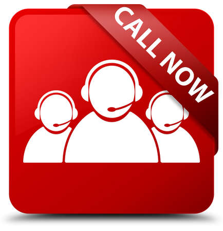 Call now (customer care team icon) red square button Stock Photo