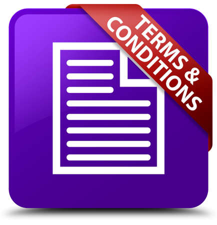 terms: Terms and conditions (page icon) purple square button Stock Photo