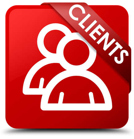 job satisfaction: Clients (group icon) red square button Stock Photo
