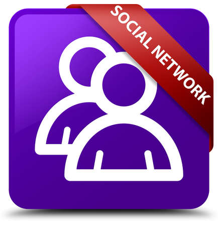Social network (group icon) purple square button Stock Photo