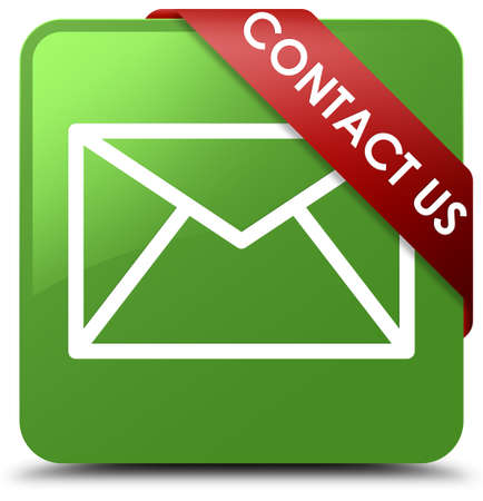 Contact us (email icon) soft green square button Stock Photo