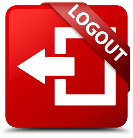 logout: Logout red square button Stock Photo