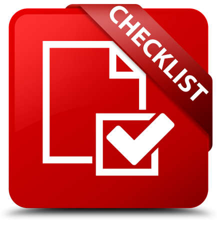 valid: Checklist red square button Stock Photo