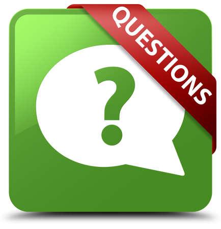 Questions (bubble icon) soft green square button