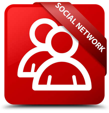 account: Social network (group icon) red square button