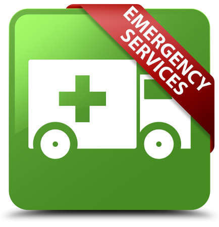 Emergency services soft green square button