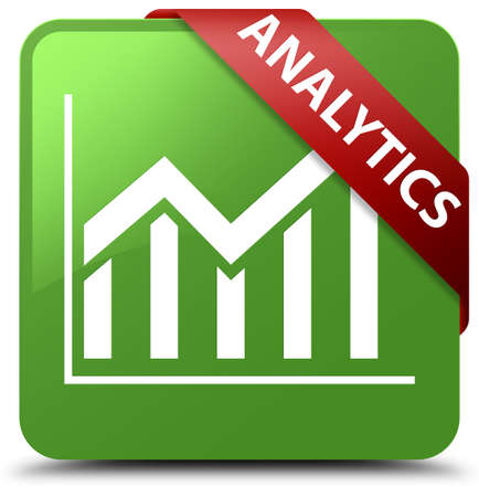 Analytics (statistics icon) soft green square button