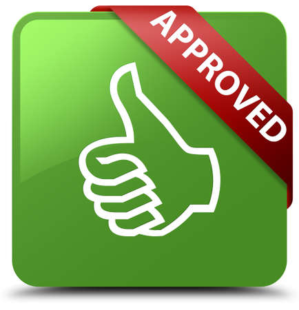 Approved (thumbs up icon) soft green square button Stock Photo