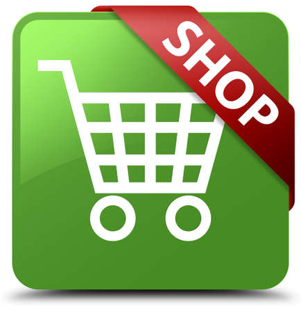 Shop soft green square button Stock Photo