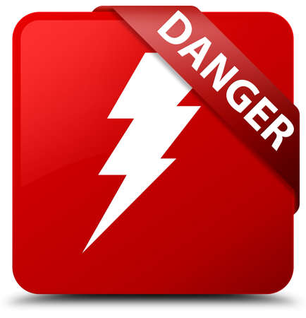 Danger (electricity icon) red square button