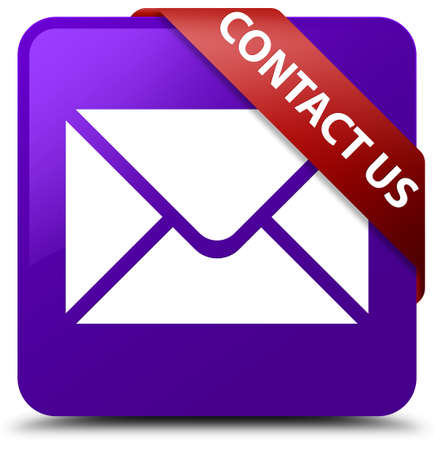envelope: Contact us (email icon) purple square button Stock Photo