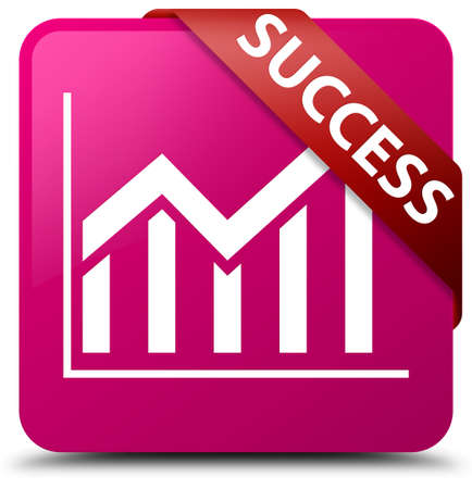 Success (statistics icon) pink square button