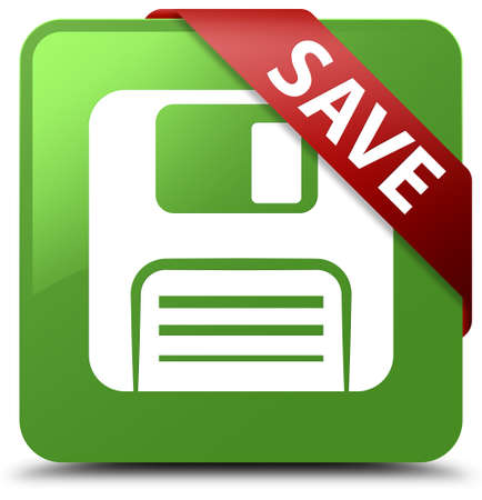 Save (floppy disk icon) soft green square button