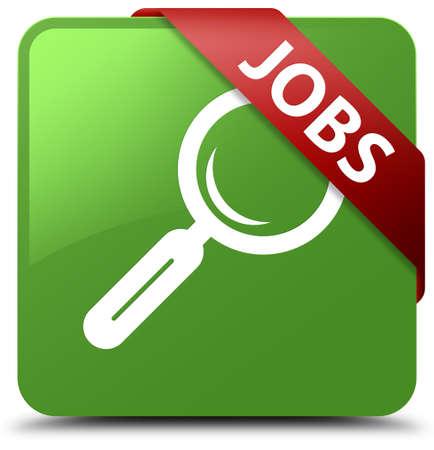 Jobs soft green square button Stock Photo