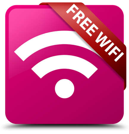 wireless internet: Free wireless internet pink square icon button