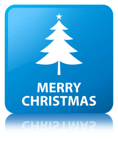 Merry christmas (tree icon) cyan blue square button Stock Photo