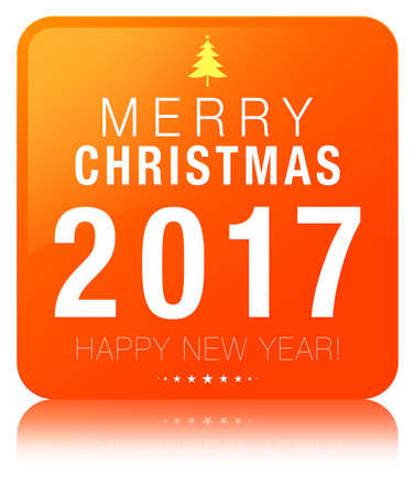 Merry christmas 2017 Happy new year orange square button