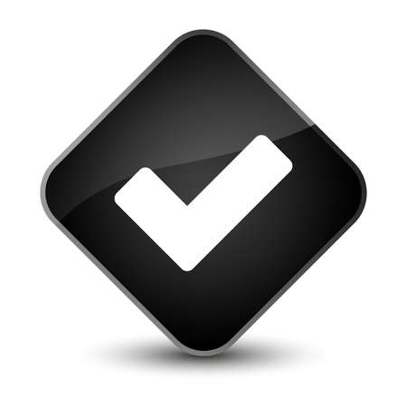 validate: Validate icon isolated on elegant black diamond button abstract illustration Stock Photo