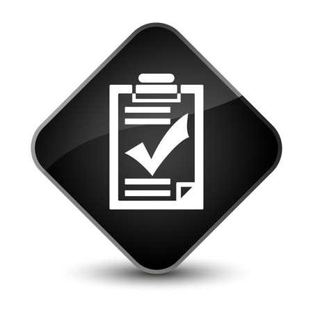 report icon: Checklist icon isolated on elegant black diamond button abstract illustration