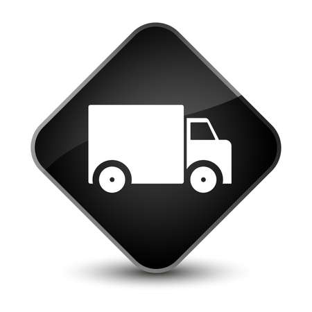 truck: Delivery truck icon isolated on elegant black diamond button abstract illustration