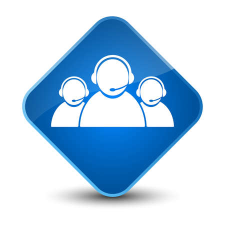 people icon: Customer care team icon isolated on elegant blue diamond button abstract illustration