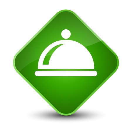 Food dish icon isolated on elegant green diamond button abstract illustration