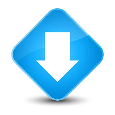 Download arrow icon isolated on elegant cyan blue diamond button abstract illustration Stock Photo